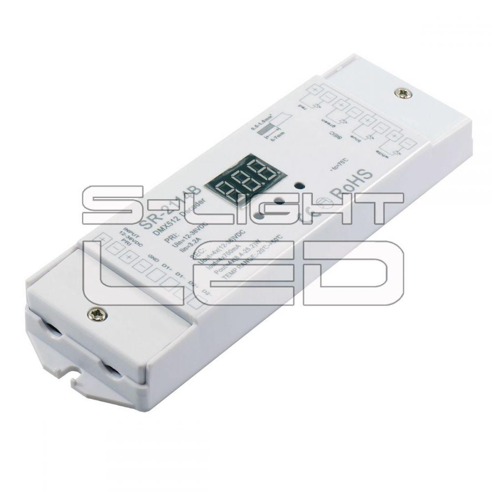 SL-2114B DMX DEKÓDER RGB+W  négy külön csatornát vagy RGB+fehér  színeket kezel 4x700mA