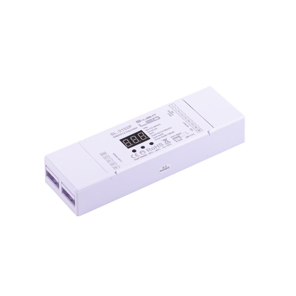 SL-2102P  DMX DEKÓDER RGB+W gyorscsatlakozós  négy külön csatornát vagy RGB+fehér  színeket kezel