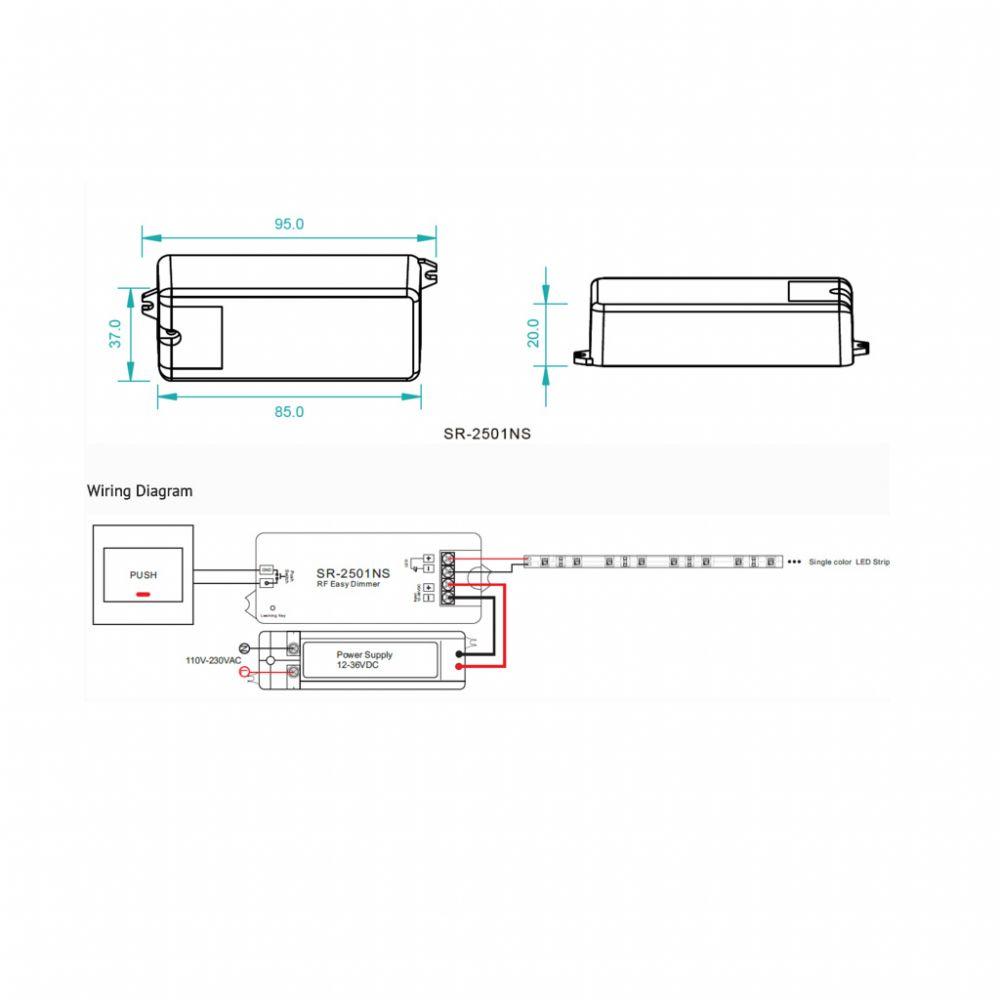 SL-2501NS RF DIMMER VEVŐ 12/24V DC  1x8A S-LIGHTLED fényerőszabályzókhoz
