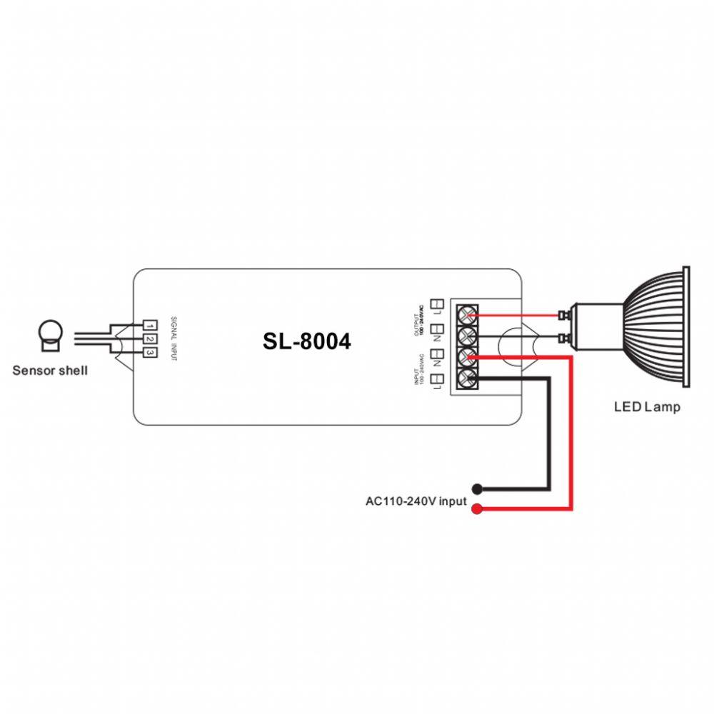 SL-8004  PIR mozgás érzékelős kapcsoló 230V kapcsolására