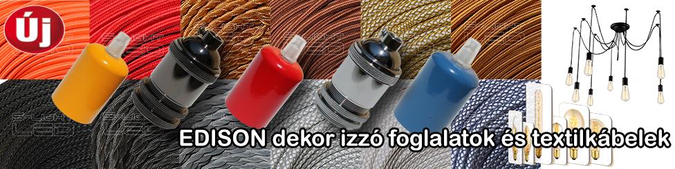 EDISON textilkábelek és foglalatok