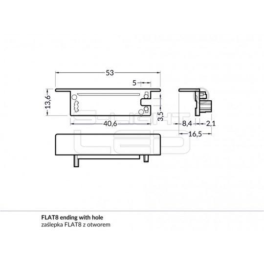 LED profil FLAT8 végzáró fekete