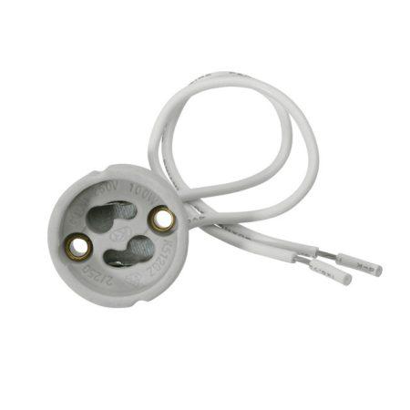 GU10 230V foglalat furatszerelt technológiához , porcelán , 2x0,75 vezetékkel
