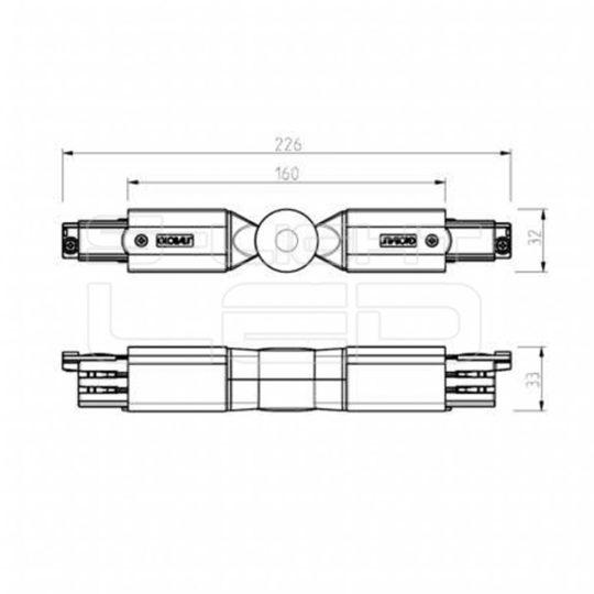 NORDIC Global Track 3F XTS 24-1 állítható toldó 3 fázisú sínhez, szürke színben