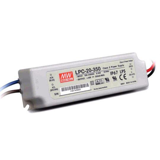 MeanWell 20W LPC-20-350 20W 9-48V/350mA LED tápegység IP67