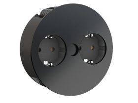 Bachmann TWIST 931.150 2x230V konyhapultba építhető, reteszelhető dugalj fekete