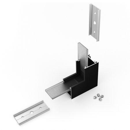 LED profil LINEA20 fekete térben forduló sarokidom 90°