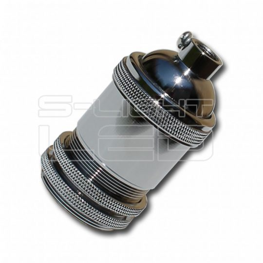 Edison E27 foglalat CB002G szürke króm
