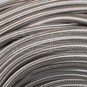 2x0,75mm2 Textilkábel fényes ezüst kör fonattal