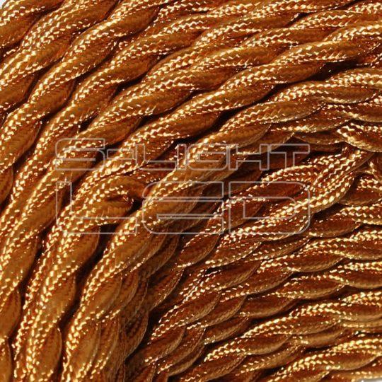 Textilkábel sodrott arany 2x0,75mm twisted