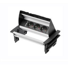 GTV  3x230V beépíthető elosztó, fekete Alu ház IP20 billenő fedél