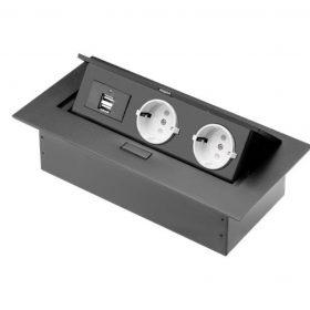 GTV  2X230V+2XUSB beépíthető elosztó alu ház fekete IP20 billenő fedél