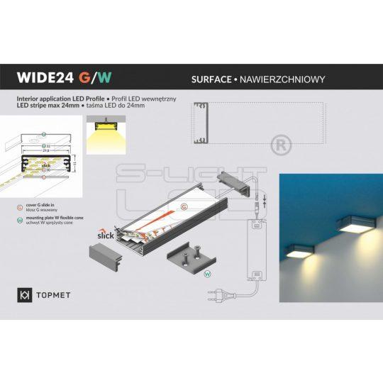 """LED profil fedél  """"G"""" fedél WIDE24 Aluminium"""