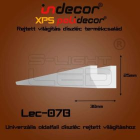 Lec-07B XPS OLDALFALI univerzális díszléc rejtett világításhoz 25 x 30 mm