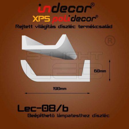 Lec-08B oldalfali rejtett világítás díszléc beépíthető spothoz 2 méter