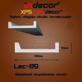 Lec-09 oldalfali rejtett világítás díszléc beépíthető spothoz 2 méter