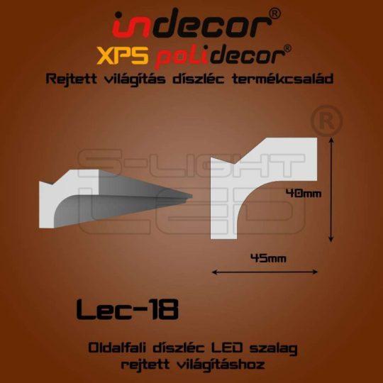 Lec-18 oldalfali rejtett világítás díszléc 2 méter