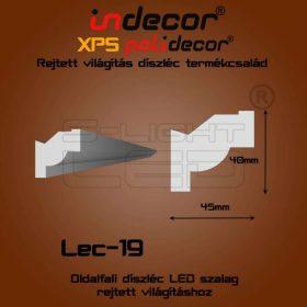 Lec-19 XPS OLDALFALI univerzális díszléc rejtett világításhoz 45 x 40 mm