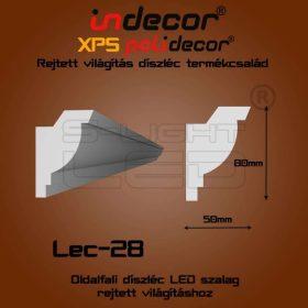 Lec-28 XPS OLDALFALI univerzális díszléc rejtett világításhoz 80 x 50 mm