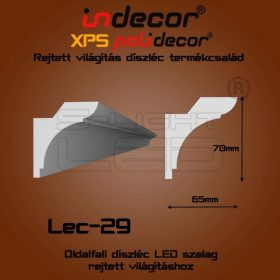 Lec-29 XPS OLDALFALI univerzális díszléc rejtett világításhoz 75 x 65 mm