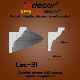Lec-31 XPS OLDALFALI univerzális díszléc rejtett világításhoz 110 x 45 mm
