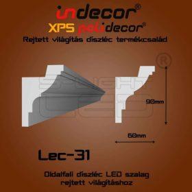 Lec-31 XPS OLDALFALI univerzális díszléc rejtett világításhoz 90 x 60 mm