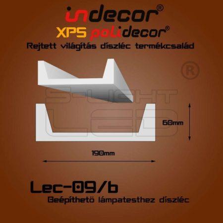Lec-09B oldalfali rejtett világítás díszléc beépíthető spothoz 2 méter