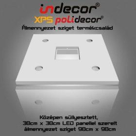 N-90-LP XPS NÉGYZET álmennyezet LED panellel szerelve, süllyesztett 90 x 90 cm