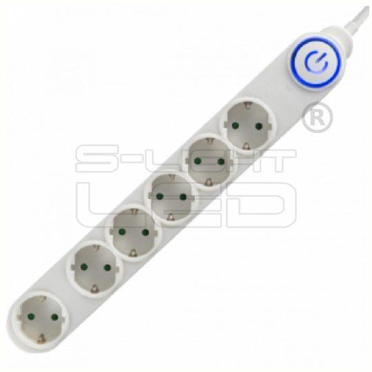 NV 06TK/WH Talpkapcsolós elosztó világító kapcsolóval, 6 aljzat, 1,5m fehér, gyermekvédelemmel