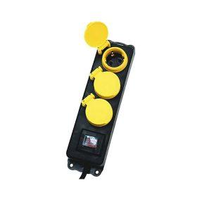 NVO 03K/BK Hálózati elosztó, kapcsolós,3 aljzat, 1,5m, IP44, fekete, gyermekvédelemmel