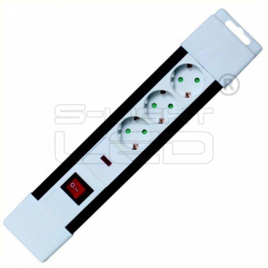 NVP 03K/WH Túlfeszültség védett hálózati elosztó, kapcsolós, 3 aljzat, 2 m gyermekvédelemmel