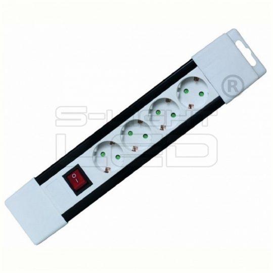 PNV 04K/WH Hálózati elosztó, kapcsolós, 4 aljzat, 2m, fehér, gyermekvédelemmel