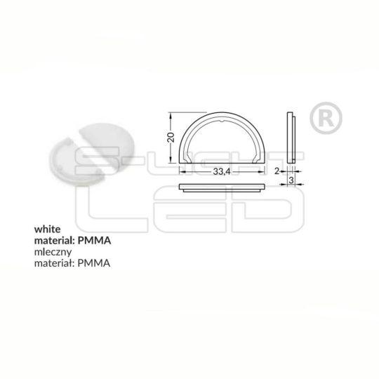 LED profil VARIO D9 fedél végzáró fehér
