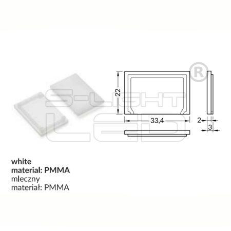 LED profil VARIO E9 fedél végzáró fehér