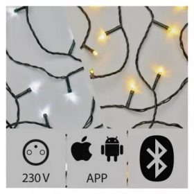 EMOS LED fényfüzér classic M-app 2/1 15m 150 LED IP44 Bluetooth
