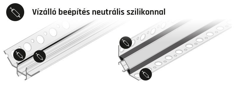 UNI TILE12 LED csempe profil vízálló beépítése